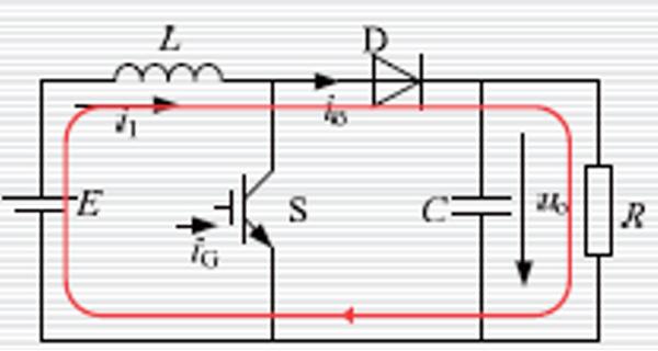 直流电e全部加在电感上,即此时电源e为电感充电,设开关管导通时间