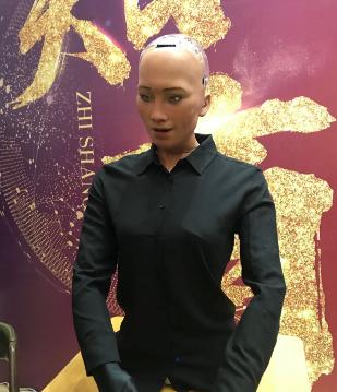 """史上首个""""机器人公民""""索菲亚来广州交流"""