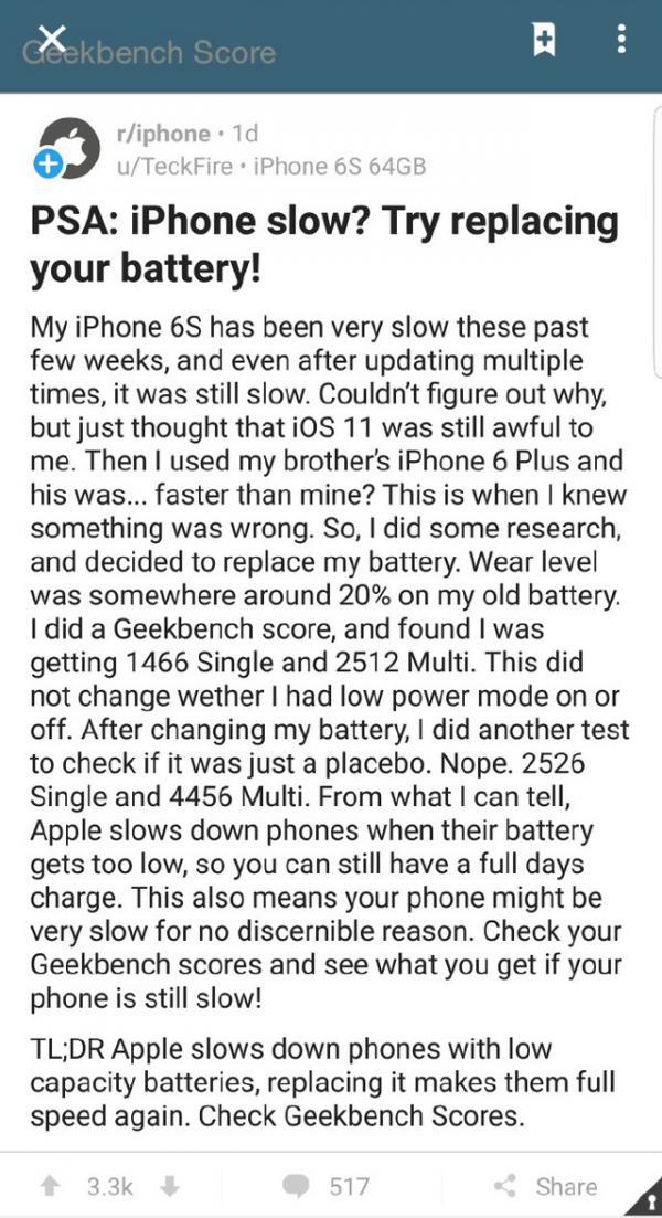 苹果被曝:故意使电池老旧iPhone卡顿