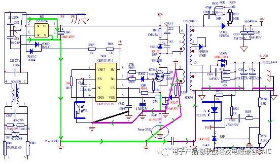 开关电源系统fly带接地系统的参考运用原理图如下