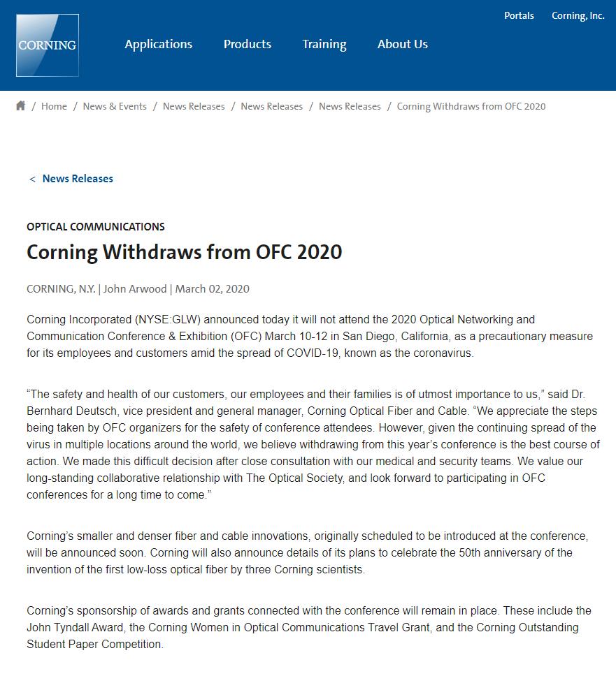 康宁宣布退出OFC 2020,第一根低损耗光纤50周年活动延期