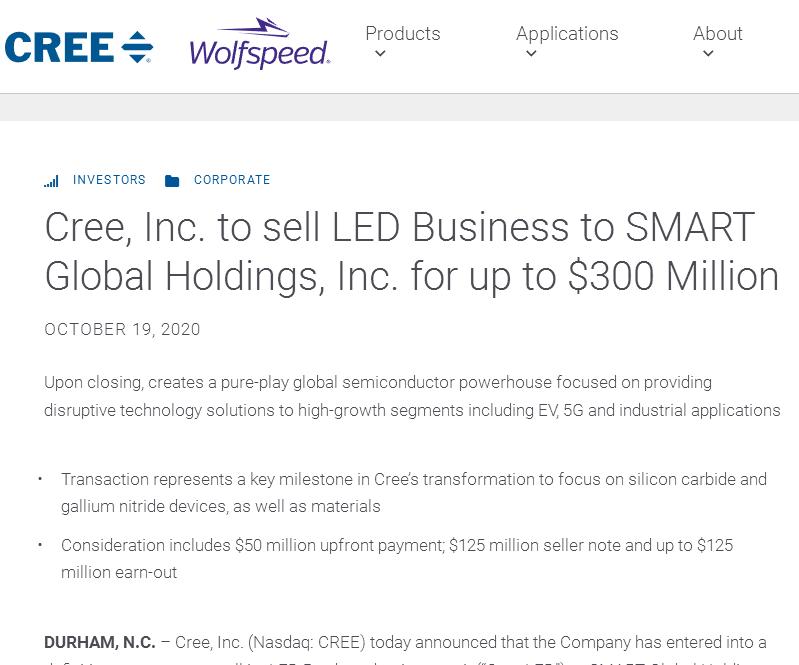 Cree将LED业务出售给SMART 交易价格达3亿美金
