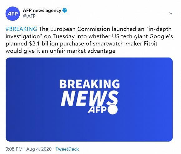 谷歌拟收购Fitbit交易受阻,欧盟展开反垄断调查
