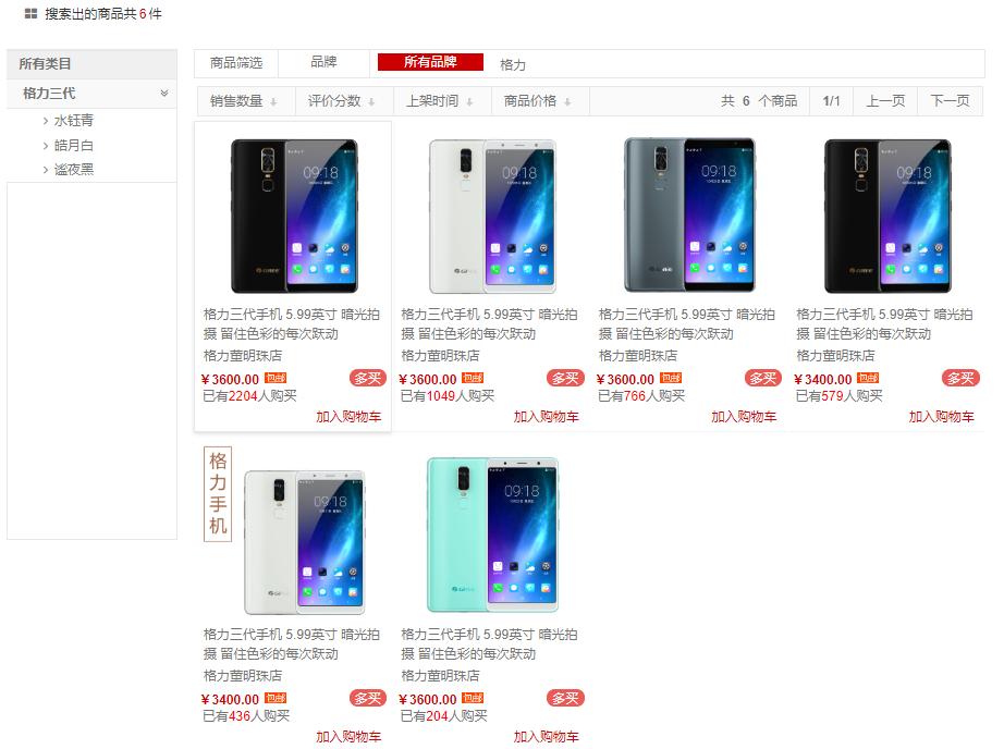 格力手机品牌及销量