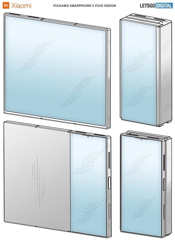 小米三折屏智能机设计专利曝光:正面展开后近9英寸