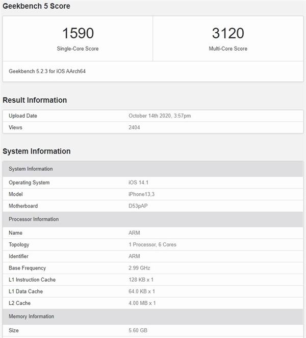 iPhone 12 Pro性能曝光:A14多核表现不如iPad Air 4