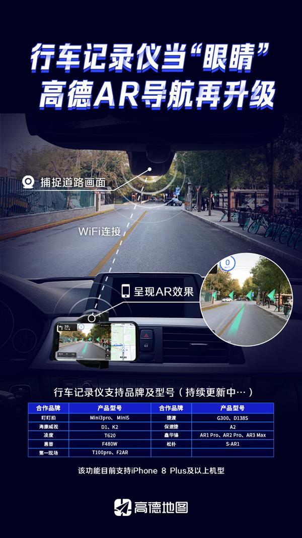 """高德地图手机AR导航再升级 用行车记录仪当""""眼镜"""""""