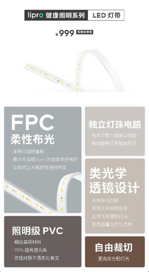 魅族Lipro灯带发布:最大5cm曲率半径弯折 自由裁剪