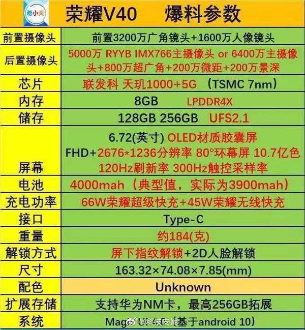 荣耀V40参数全曝光:配置很给力 价格成唯一悬念