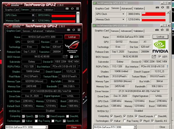 26相供电发威:影驰RTX 3090 HOF超频首次跨越3GHz
