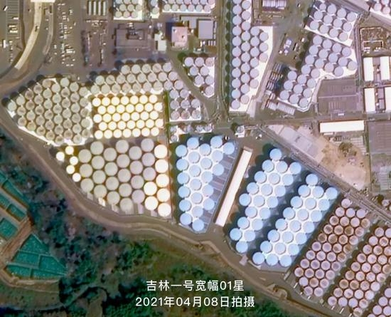 中国卫星目击福岛第一核电站上百万吨核污水存贮区:储存罐超多