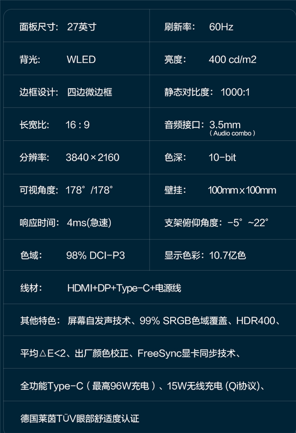 3999元 联想Qreator 27 4K显示器开卖:15W无线充+屏幕自发声