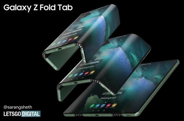 折叠手机全新形态!三星双折叠手机渲染图曝光:厚度有惊喜