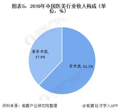 圖表5:2019年中國醫美行業收入構成(單位:%)