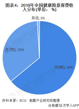 图表4:2019年中国健康险原保费收入分布(单位: %)