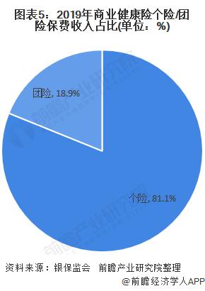 图表5:2019年商业健康险个险/团险保费收入占比(单位:%)