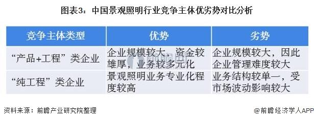 图表3:中国景观照明行业竞争主体优劣势对比分析