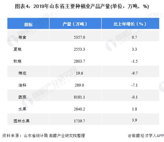 图表4:2019年山东省主要种植业产品产量(单位:万吨,%)