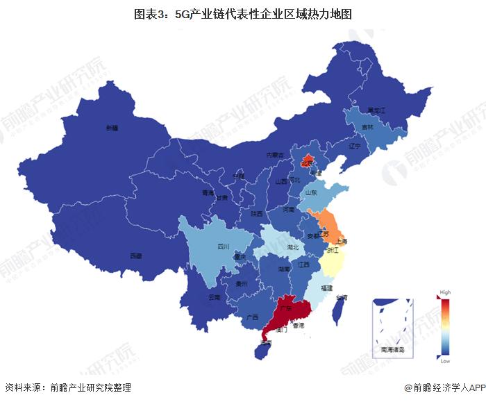 图表3:5G产业链代表性企业区域热力地图