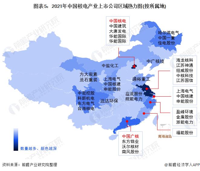 图表5:2021年中国核电产业上市公司区域热力图(按所属地)