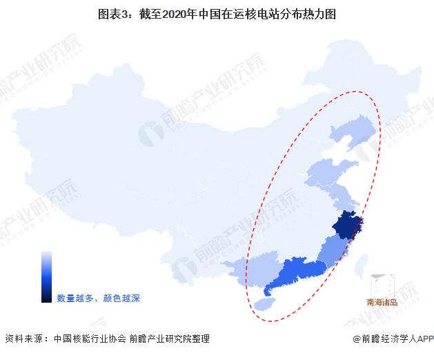 图表3:截至2020年中国在运核电站分布热力图