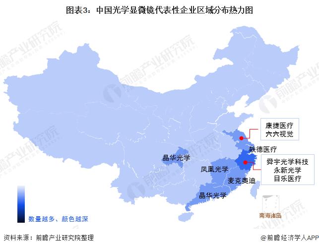 图表3:中国光学显微镜代表性企业区域分布热力图