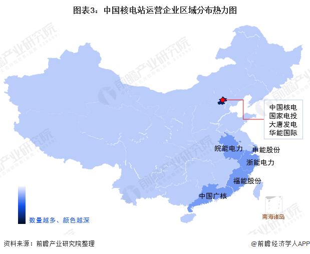 图表3:中国核电站运营企业区域分布热力图