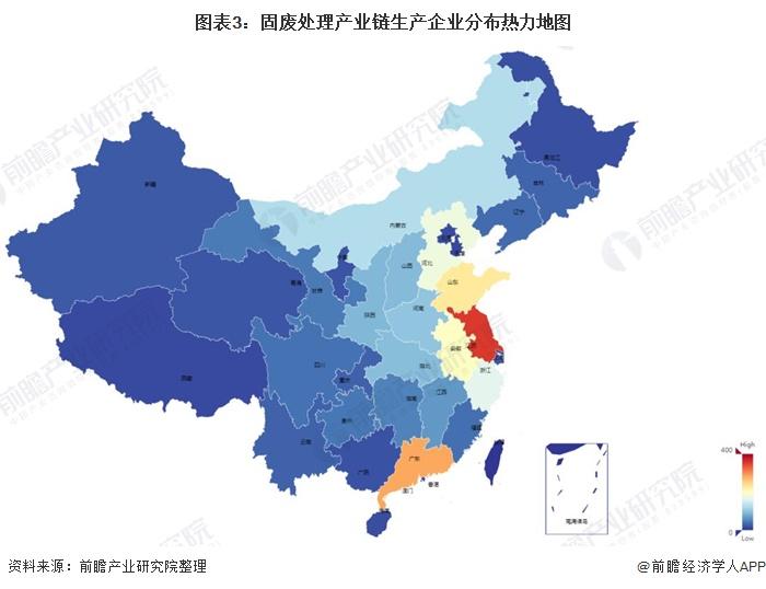 图表3:固废处理产业链生产企业分布热力地图