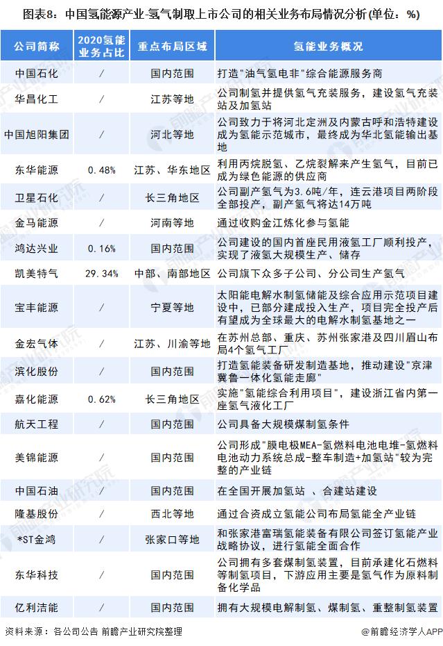 图表8:中国氢能源产业-氢气制取上市公司的相关业务布局情况分析(单位:%)
