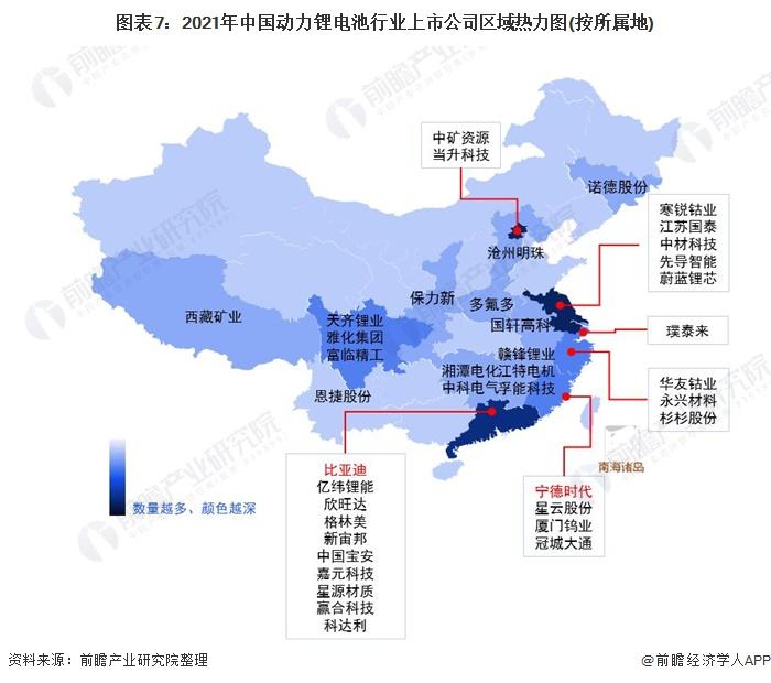 图表7:2021年中国动力锂电池行业上市公司区域热力图(按所属地)