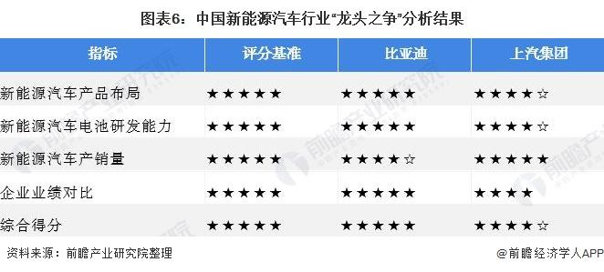 """图表6:中国新能源汽车行业""""龙头之争""""分析结果"""
