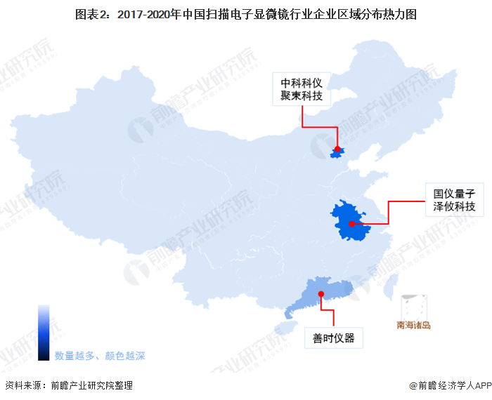 图表2:2017-2020年中国扫描电子显微镜行业企业区域分布热力图