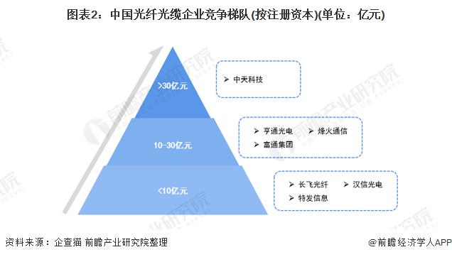 图表2:中国光纤光缆企业竞争梯队(按注册资本)(单位:亿元)