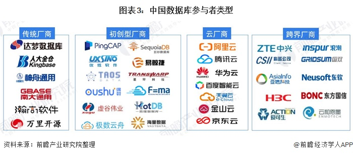 图表3:中国数据库参与者类型