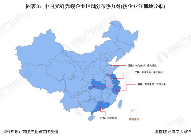 图表3:中国光纤光缆企业区域分布热力图(按企业注册地分布)