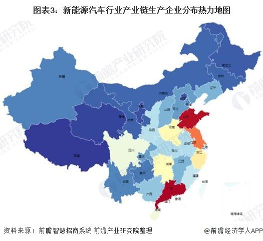 图表3:新能源汽车行业产业链生产企业分布热力地图