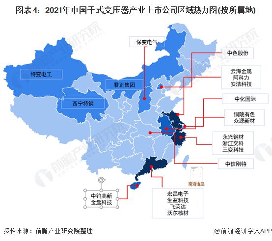 图表4:2021年中国干式变压器产业上市公司区域热力图(按所属地)