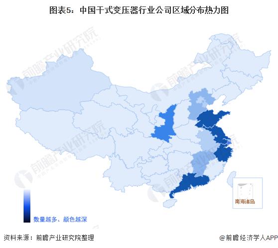 图表5:中国干式变压器行业公司区域分布热力图