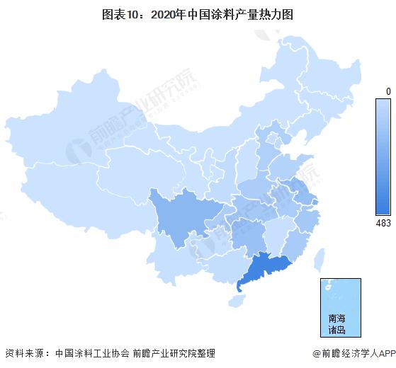 图表10:2020年中国涂料产量热力图