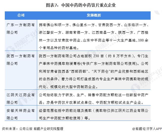 图表7:中国中药的中药饮片重点企业
