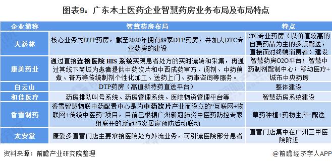 图表9:广东本土医药企业智慧药房业务布局及布局特点