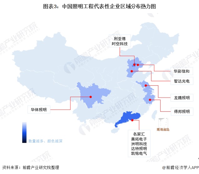 图表3:中国照明工程代表性企业区域分布热力图