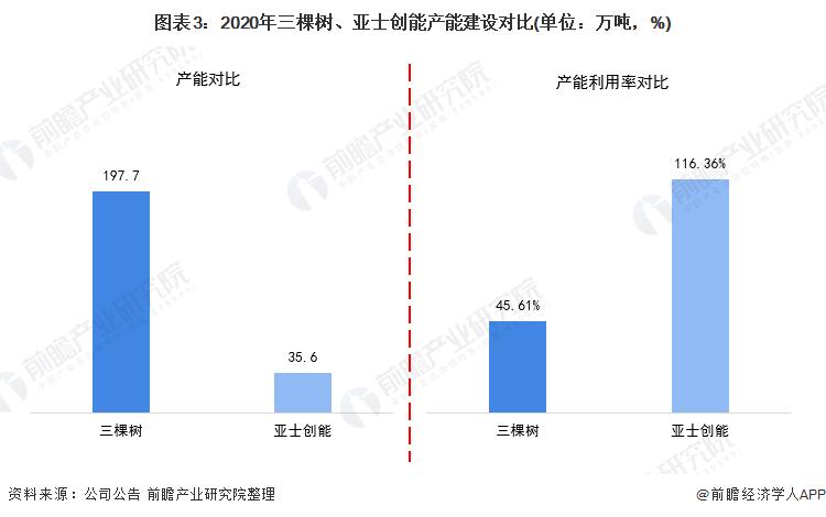 图表3:2020年三棵树、亚士创能产能建设对比(单位:万吨,%)