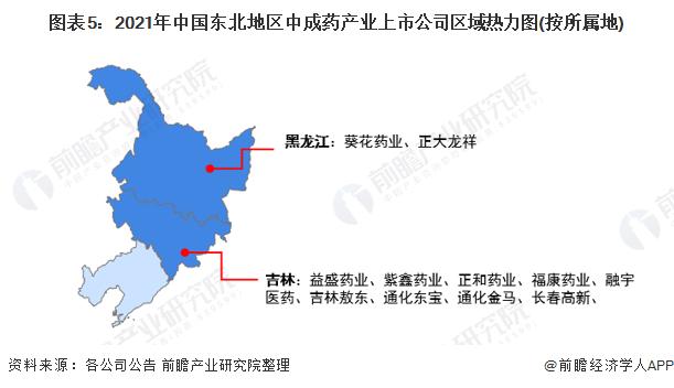 图表5:2021年中国东北地区中成药产业上市公司区域热力图(按所属地)