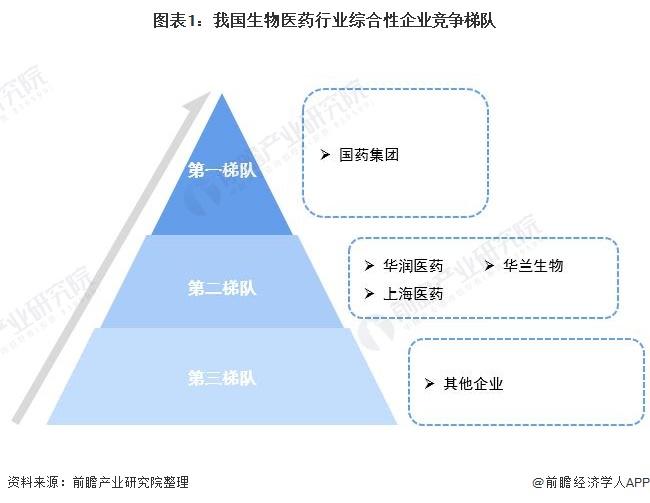 图表1:我国生物医药行业综合性企业竞争梯队