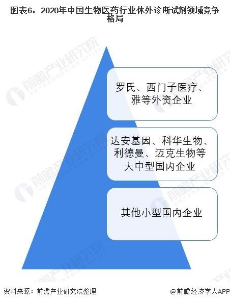 图表6:2020年中国生物医药行业体外诊断试剂领域竞争格局