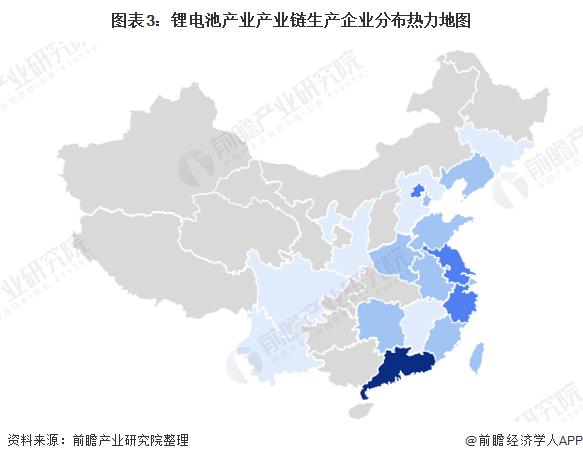 图表3:锂电池产业产业链生产企业分布热力地图