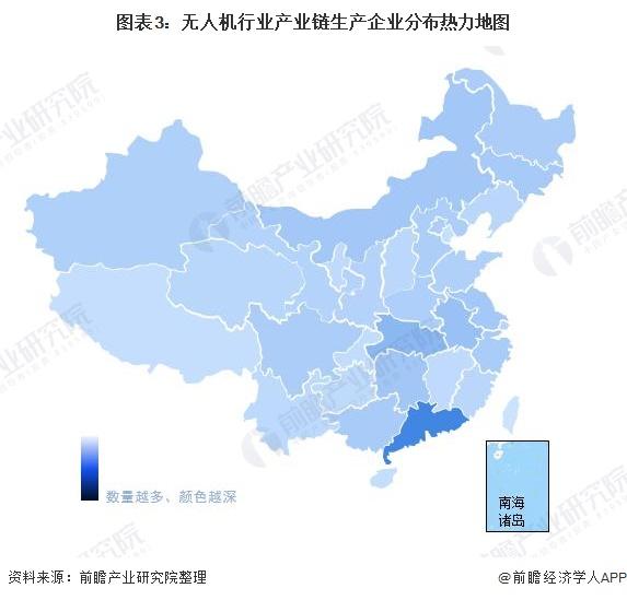 图表3:无人机行业产业链生产企业分布热力地图