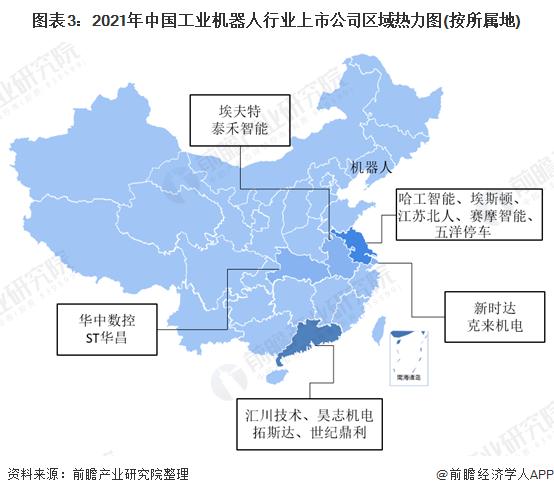 图表3:2021年中国工业机器人行业上市公司区域热力图(按所属地)
