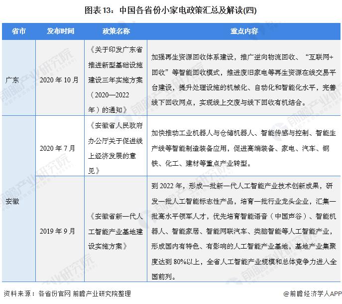 图表13:中国各省份小家电政策汇总及解读(四)